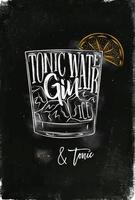 Gin tonic cocktail chalk color poster