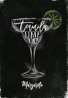 Margarita cocktail chalk color poster vector