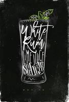 Mojito cocktail chalk color poster