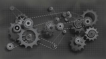 sistema de engranajes y piñones trabajando con cadena vector