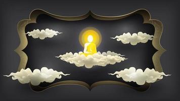 Abstract mediating monk siting on white cloud vector