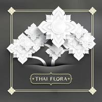 Abstract Thai art, white paper inserted cut flowers  vector