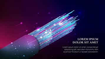Cable de fibra óptica colorido abstracto en degradado oscuro vector