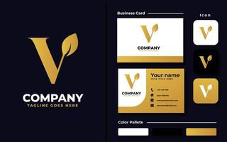 Letter V Leaf Branding Set vector