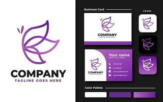 conjunto de marca de mariposa de arte de línea púrpura vector