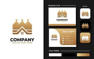 Elegant House and Crown Branding Set vector