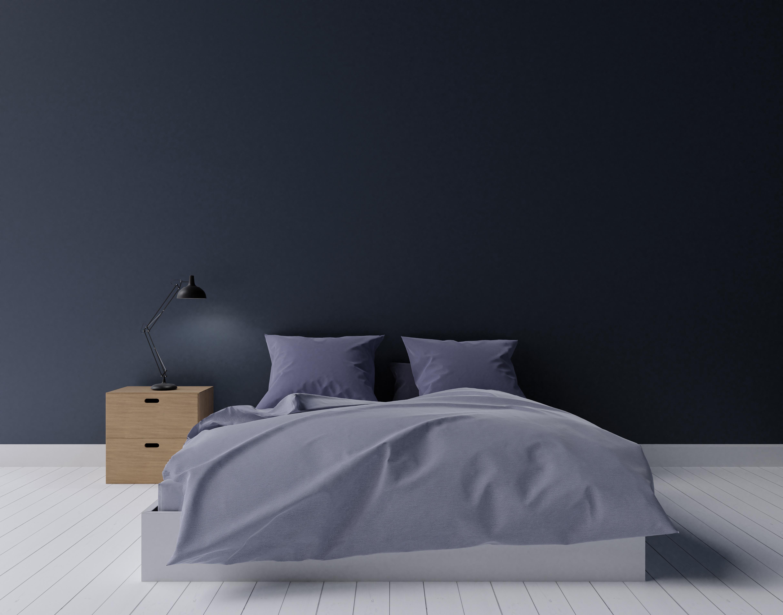 Dark modern bedroom, mock up