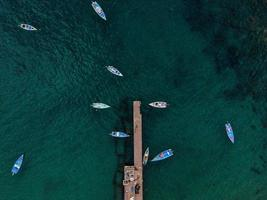 Aerial view of boats near a dock