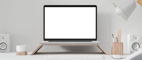 Laptop mockup on desk in office