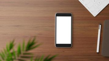 Flat lay of a smartphone mockup