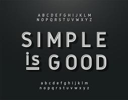 conjunto de alfabeto de contorno de plata sans serif vintage