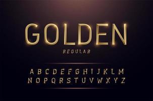 Alphabet thin line gold metallic alphabet set