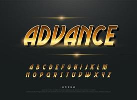 Alphabet retro modern gold metallic alphabet set