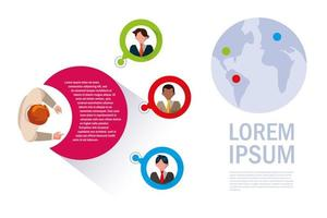 Infographic with businessmen  vector