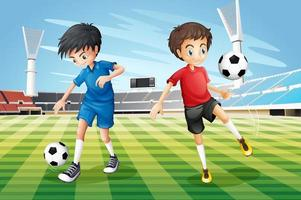 Boys playing soccer vector