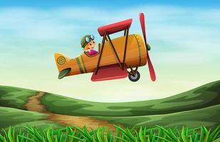 un piloto volando una hélice vector