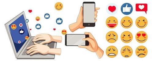 conjunto de emoticonos de redes sociales vector