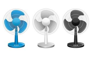 Electric fan set isolated  vector