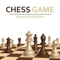 3d chess game board and pieces on white