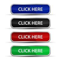 Click here web buttons set with metallic frame  vector