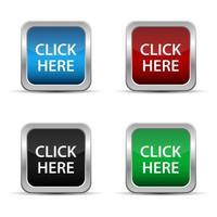 Haga clic aquí cuadrados botones web con marco metálico vector