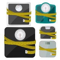 Set of bathroom weighing scales