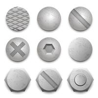juego de tornillos de cabeza de tornillo vector