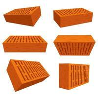 Set of bricks for wall construction  vector