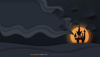 casa de halloween y diseño de talla de arte de papel de luna llena vector
