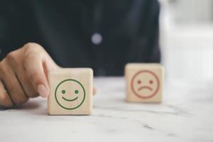 Customer satisfaction wooden blocks