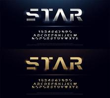 Silver and gold metal futuristic alphabet font set vector
