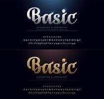 Elegant Gold and Silver Metallic Script Alphabets vector