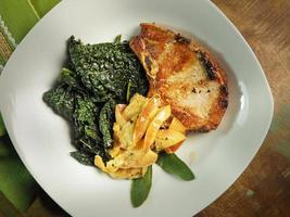 Grilled pork chop plate