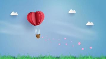 Paper art heart balloon in sky witht railing hearts