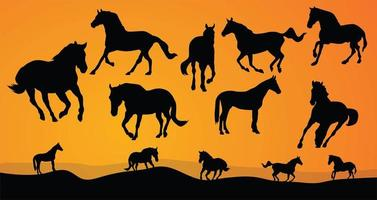 Horses silhouettes collection vector