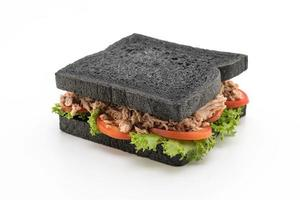 Sándwich de carbón de atún sobre fondo blanco.