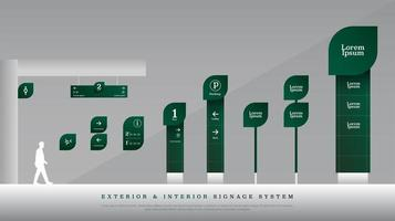Exterior and interior green eco signage set vector