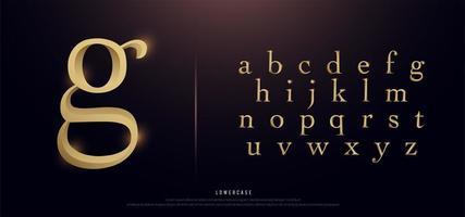 elegante alfabeto en minúsculas de metal dorado