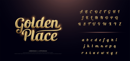 elegante conjunto de alfabeto de metal de color dorado vector