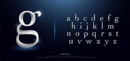 elegante alfabeto en minúsculas de metal plateado
