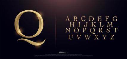 elegante alfabeto en mayúsculas de metal dorado vector