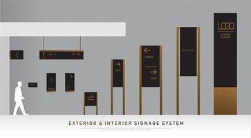 Black and wood texture exterior and interior signage set vector