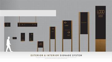 Conjunto de señalización exterior e interior con textura de madera y negro.