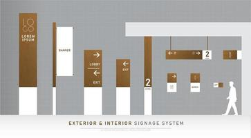 Conjunto de señalización exterior e interior de textura blanca y madera.