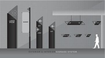 Conjunto de señalización exterior e interior en negro y gris.