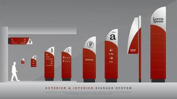 Red and silver rounded exterior and interior signage set vector