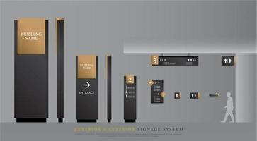 Dark gray and gold exterior and interior signage set vector