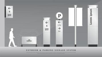 Conjunto de señalización exterior y estacionamiento gris claro.