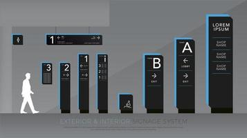 Black and blue exterior and interior signage set vector