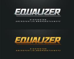 Silver and Golden Uppercase Font Set vector